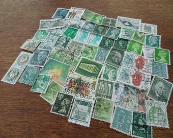 50 Green Vintage Postage Stamps – Worldwide lot