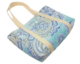 Celestial Aqua Paisley - Washable Tote Bag