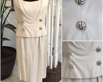 Vintage Creme Dress with Rhinstones and Beautiful Details  Medium
