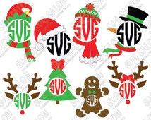 Christmas Monogram Cutting File / Clipart in Svg Eps Dxf Png Jpeg for Cricut & Silhouette: Reindeer Elf Snowman Scarf Santa Hat Gingerbread