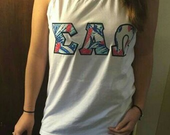 custom lilly pulitzer greek letter comfort colors tank top