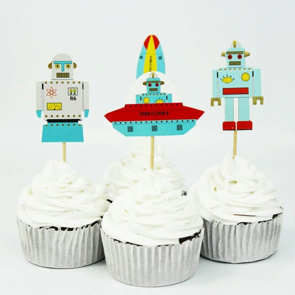 Robot Space Astronaut Cake Toppers UFO Alien Birthday Party - Astronaut decorations
