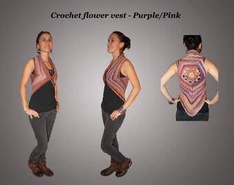 Crochet vest - Purple/Pink Flower