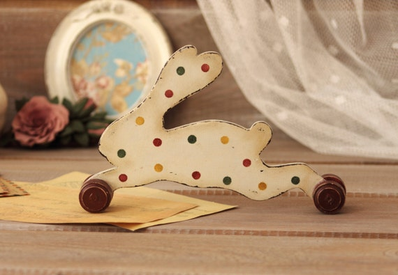 Wood easter bunny home decor rustic bunny wood statuette for Rabbit decorations home