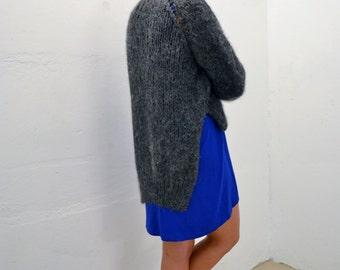 Long Sleeve Dip Hem Dress in Cobalt