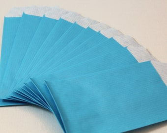 Lot of 50 pouches gift turquoise blue kraft 7 x 13.5 cm