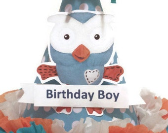 1st Birthday Boy Polka Dot  Hoot Party Hat