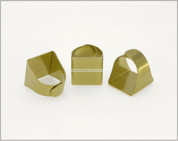 4 pc.+  Adjustable Ring Base, Square Pad Ring Blank - RAW Brass
