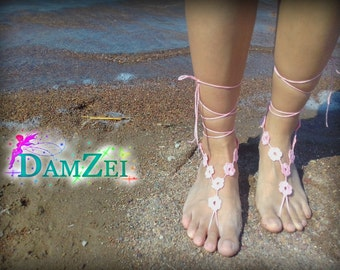 Wedding Barefoot Sandal, Crocheted flower Anklet, Pink Barefoot Sandal, Lace Barefoot Sandal, Barefoot Anklet, Foot Jewelry