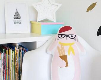 FREE SHIPPING Mrs. Hare, Stuffed Hare, Pillow, Nursery Decor, Soft Toy, Plush Toy, Kids Room Decor, Hare Cushion, Decorative Pillow