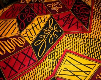 Wax Print VLISCO Fabric, by the Half Yard