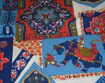 Vintage Cotton Fabric, 1/2 Yard Cut, Indian Maharaja looking print