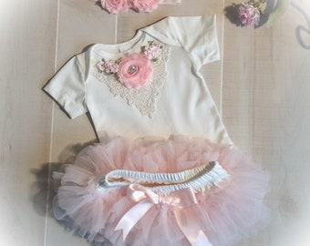 Baby Girl Outfit, Newborn Girl Bodysuit TuTu, Baby Girl Tutu Bloomer, Victorian Baby, Baby Girl Photo Outfit