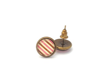 Pink and Brown Striped Studs