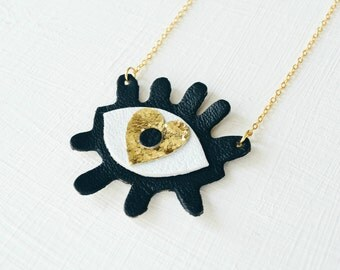 Eye leather necklace, Retro Necklace, Big Eye necklce