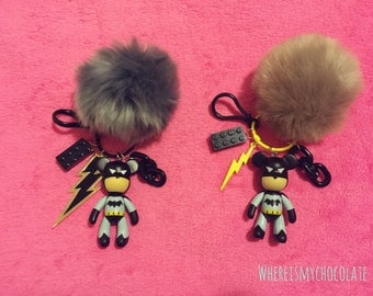 His & hers matching kawaii batman teddy bear keychain / keyring! Perfect as friendship keychain too. Cute keychain with toy charms (:
