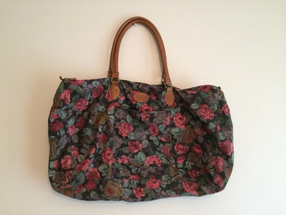 Vintage GITANO Floral Canvas Duffle Bag With By Gretchenandrachel