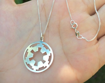 Star Wars Imperial Logo Necklace, Dark Side, Sterling Silver 925