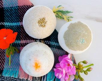 Bath Bomb Gift Set- Christmas Gift - Trio Bath Bomb Spa Gift Set - Relaxation Kit - Handmade Essential oil Bath Bombs - Natural Bubble Bath