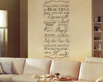 Custom Every Love Story is Beautiful but Ours is my Favorite Vinyl Wall Decal Subway Wall Art