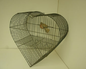 Heart shaped Metal birdcage antique in fine condition