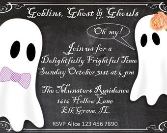 Fun vintage Halloween invitation, Ghost and goblins Halloween invitation, Kid friendly, Halloween birthday party invitation, costume party