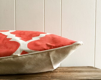 Large Dog Bed Duvet Cover: Red and White Moroccan