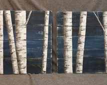 Pallet wall decor Painting, White Birch Painting, 2 Piece set, Hand Painted Dark Blue, reclaimed wood, upcycled rustic shabby