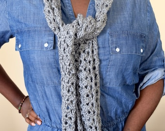 Womens Gray Summer Scarf, Fashion Scarf, Lightweight Scarf, Long Skinny Scarf, Christims in July Birthday Gift for Wife, Sister, Best Friend