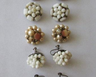 5 Pair Vintage Beaded Cluster Clip on & Screw Back Earrings Lot Bead Earrings