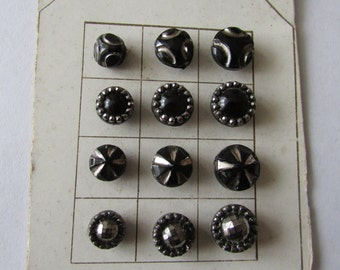 12  Black Glass Buttons Small Diminutive Lustre Buttons Card