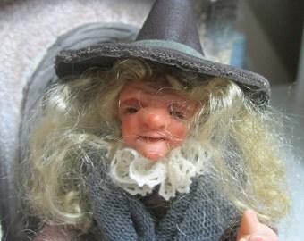 Dalila, 1/12th miniature dollhouse doll, witch, Halloween