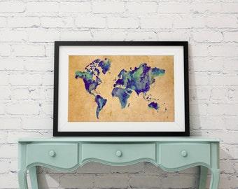 World map art, Vintage world map, World map panting, Travel art