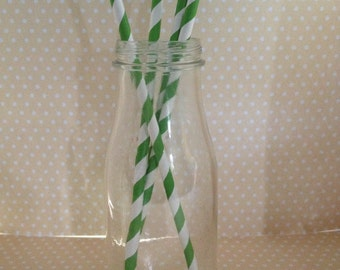 Green Striped Party Paper Straws - Set of 10
