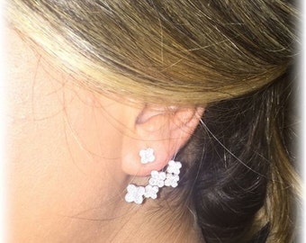 PAIR of Clover Silver Pave Ear Jackets/Mother's Day Gift/Holiday Sale/Clover Ear Crawlers/925 Silver Ear Cuffs/Gift for Her/Trendy Earrings