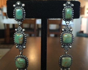 Native American Turquoise and Silver Drop Earrings