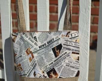 Newspaper Lt. brown 2 toned bag