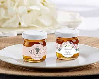 Wedding Honey Favor Jars - Cameo or Floral Design, Garden Theme Wedding  (set of12) PROMOTION for July; buy 4 sets get your 5th for FREE!!!