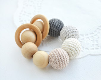 Baby rattle Wooden teether Crochet rattle Teething ring Wooden ring Neutral baby gift Babyshower gift Gray Cream Beige Christmas gift idea