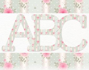 Shabby Chic Vintage Floral Letter Alphabet Clipart Set