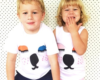 Snoozy Bear Organic White Cotton Screen Printed 3-4 size kids Top