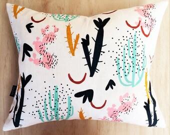 Screen Printed Coral Garden Pillow, Cactus Pillow, Cushion Cover