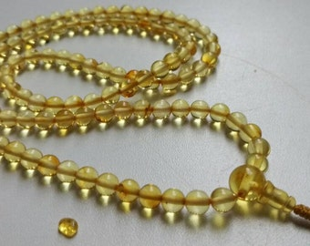 2 Small: 108 amber mala for meditation (size Ø5 colour 2), buddhist meditation, guru bead, 108 bead mala