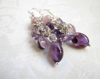 Drop earrings Amethyst earrings Purple earrings Gift Dangle earrings Gemstone earrings Mother's day gift Silver earrings Natural earrings