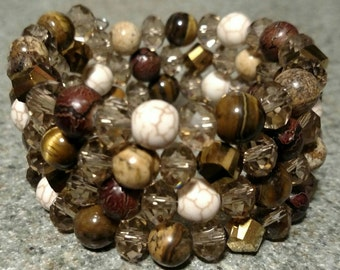 Handmade browns and neutrals glass and stone wire wrap bracelet all with 8mm beads