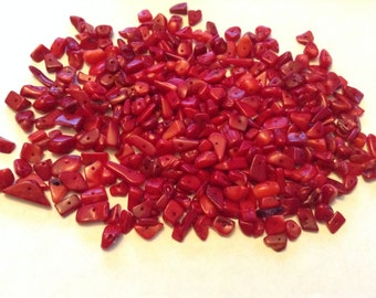 Red coral nugget beads