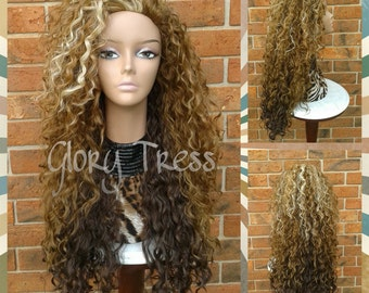 CLEARANCE //Celebrity Inspired Hairstyle, Long Kinky Curly Half Wig, Wig, Curly Blonde Wig // COURAGE