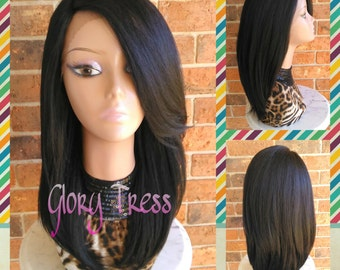 ON SALE // Kinky Straight Lace Front Wig, Natural Yaki Straight Wig, Blown Out Hairstyle, African American Wig //FUTURE (Free Shipping)