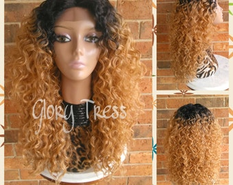 ON SALE// Celebrity Inspired Hairstyle, Custom Kinky Curly Lace Front Wig,  Ombre Blonde Wig // AIM (Free Shipping)