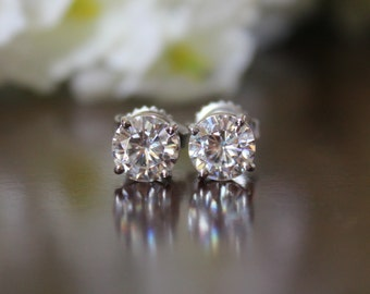1 Carat Forever One Moissanite Stud Earrings - Moissanite Studs  - 5mm Each - 14k White Gold, Anniversary - Mother's Day Gifts